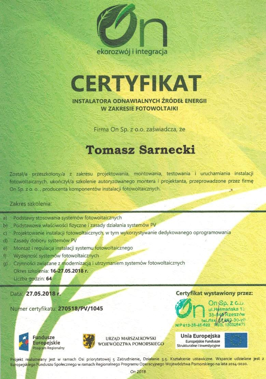 Certyfikat instalatora fotowoltaiki – montaż paneli PV